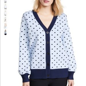 ENGLISH FACTORY Long Sleeve Polka Dot Cardigan